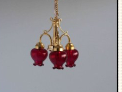 Dollhouse Miniature  Lighting - BATTERY OPERATED - 'Second Ave' Hanging Lamp RD