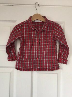 The Little White Company Red Cotton Check Shirt 12-18 Months