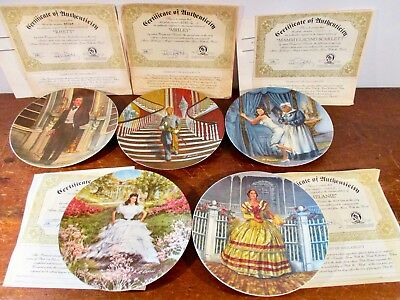 5 GONE WITH THE WIND Collector Plates Rhett Scarlett Ashley Melanie Mamie Boxed
