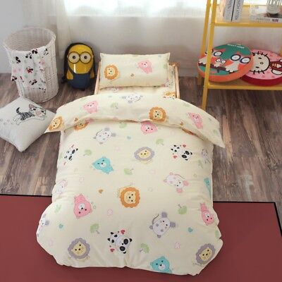 Beige Animals New Baby Bedding Crib Cot Set Quilt Cover Padded Cotton Nursery