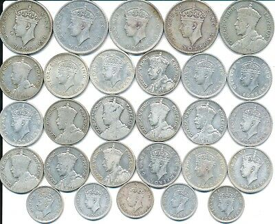 28 Old Silver Coins From Fiji 1934-1943
