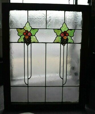 "Arts And Crafts Floral Leaded Stained Glass Window 36 1/2"" H  X 31 3/4""w"