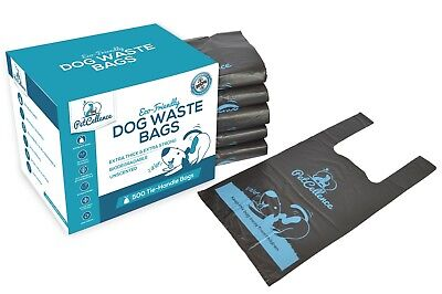 Dog Poo Poop Waste Bags Biodegradable Tie-Handles Extra Strong & Thick Large EPI