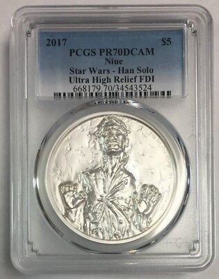 2017 Niue Silver Star Wars Han Solo Ultra High Relief PR 70 DCAM PCGS SKU#2107