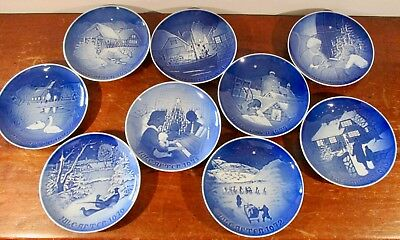 Lot of 9  Bing & Grondahl Collector Plates  1970-1978 in Boxes