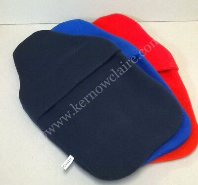 Fleece hot water bottle covers, handmade, lovely and warm, red, blue or navy