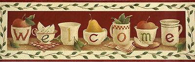 Welcome Home Sign Les Vintage Cups On Shelf Country Kitchen Wallpaper Border