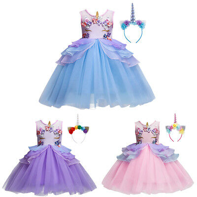 Unicorn Face Tutu Flower Girl Dress with Headband for Kid Fancy Birthday Costume