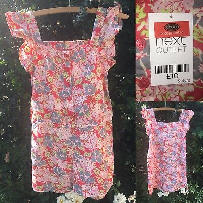 NEXT 3-4 Years Pink Floral Summer Playsuit BNWT RRP £10 Girls Floaty Outfit