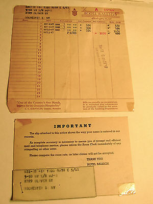1940's Hotel Raleigh Room Bill, Notice and Letter