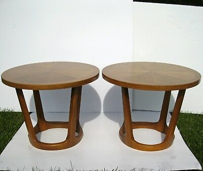 2 Mid Century Lane Round End Tables Adrian Pearsall Eames Danish Modern Wood