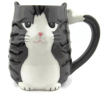 Tabby Cat Coffee Tea Mug by TAG Gray White Hand Painted 16 Ounce