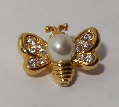 AUTHENTIC SWAROVSKI Bee Pin PAVE CRYSTAL Pearl GOLD Swan Logo SIGNED Petite
