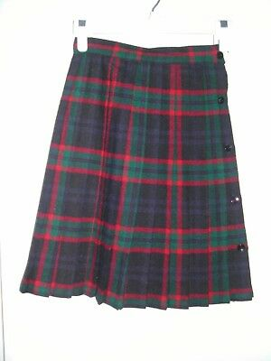 Girl's Pleaded Plaid Skirt, Size 10, Green, Navy, Red, Made USA,  poly blend