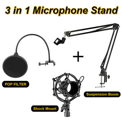 Microphone Suspension Boom Scissor Arm Stand with Pop Filter & Shock Mount