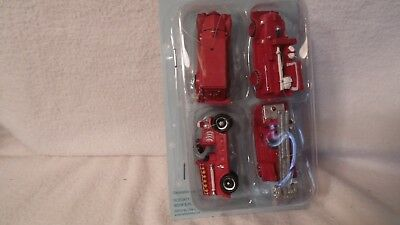 Set Of 4 Mini Fire Truck Christmas Ornaments,  All Red