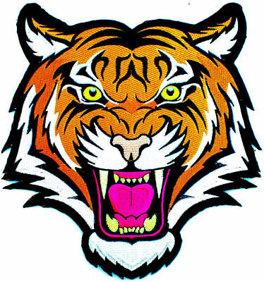LARGE 10 INCH SIZE BENGAL ANGRY TIGER iron-on PATCH Embroidered