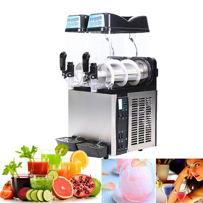 24L Commercial Frozen Drink Slush Slushy Making Machine Smoothie Ice Maker 2x12L