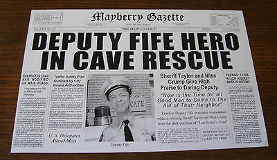 MAYBERRY GAZETTE - BARNEY FIFE Don Knotts - Andy Griffith Show - ORIGINAL PRINT