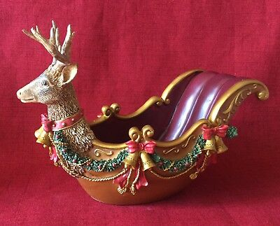 New Handpainted Decorative Reindeer Sleigh For Wrapped Candies, Potpourri, Etc