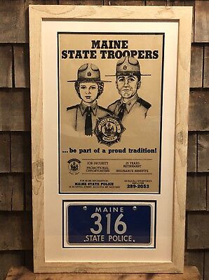 Original Vintage Maine State Police Trooper Recruiting Poster With License Plate
