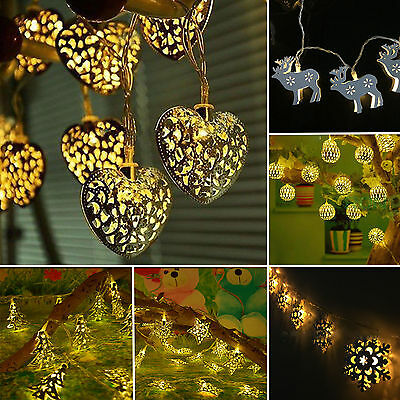 Battery Operated 10 LED Metal Heart Light String Fairy Christmas Party Festival