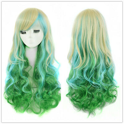 Cute Lolita Multi Color Wig Barbie Doll Long Finger Wave Hair Synthetic Full Wig