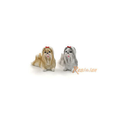 2 Shih Tzu Dog Mini Dog Animal Statue Resin Figurine Hand Painted Pet Figure