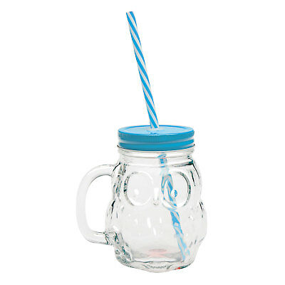 Owl Mason Jar Mugs - 16 Ounce Glass Cups with Handles Lids and Straws, Set of 4