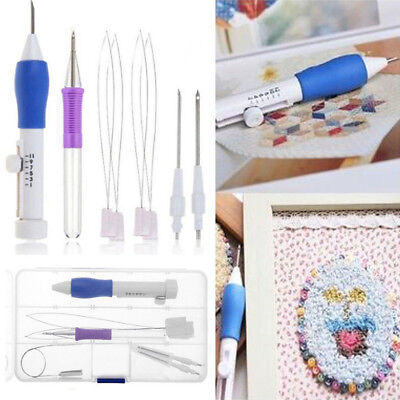 Tools ABS Plastic DIY Stitching Knitting Punch Needle Sewing Embroidery Pen Set