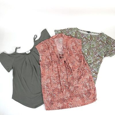 Lot of 3 Womens Career Top Blouse M Short Sleeve Talbots Sienna Sky Business