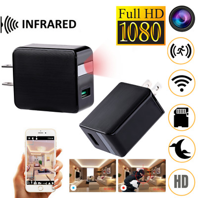 HD 4K Hidden SPY Cam Wall Charger WiFi Infrared Remote Recorder Motion Camera