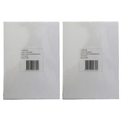 2x Packs of A4 Laminating Pouches 216x303mm 80 Micron 100 gloss sheets each pack
