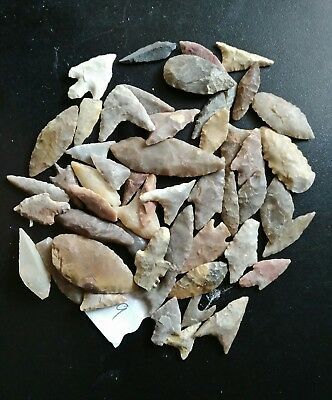 50 Nice Paleolithic Prehistoric Mesolithic Arrows Head Natural Silex Stone