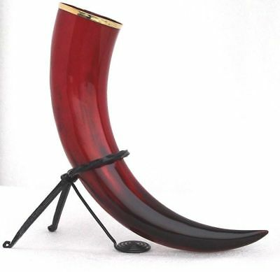 Natural Medieval Red Viking Horn & Hand Forged Iron Stand For Drinking Beer Wine