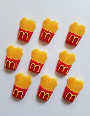 9 x McDonald's Fries Flatbacks Cabochons for Craft, Hair Clips