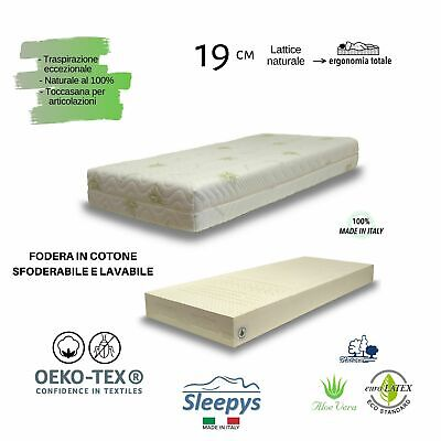 Materasso LATTICE 100% naturale fodera in ALOE VERA anallergico SFODERABILE