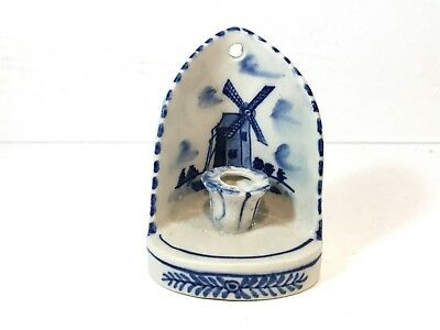 Vintage Delft Blue & White Porcelain Dutch Candle Holder Wall Hanging Decor