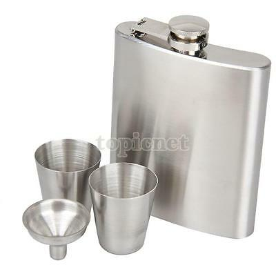 Portable Flagon Stainless Steel 7oz Hip Flask Whiskey Wine Pot Bottle Gift Kit