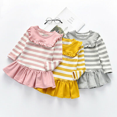 Smart Infant Kid Baby Girl Long Sleeve Solid Stripe Party Cotton Princess Dress