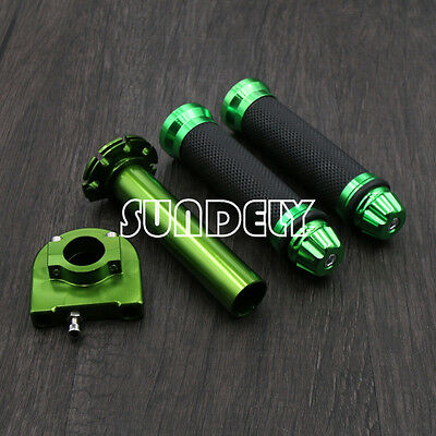 "AU Motorcycle Dirt Bike Scooter 7/8"" CNC Hand Grips Throttle Twist Tube Green"