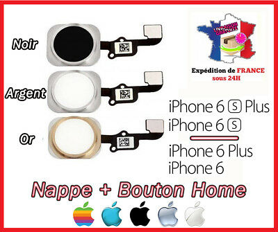 Nappe + Bouton Home Iphone 6 / 6 Plus / 6S / 6S Plus - Blanc/Argent/Or/Dore/Noir
