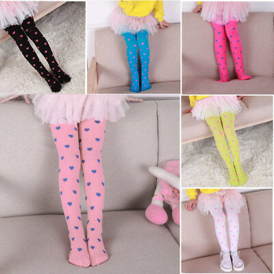 Fashion Heart Printed Girls Candy Color Pantyhose Tights Velvet Stockings Socks