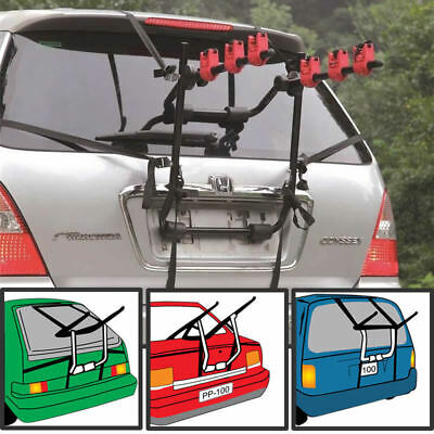 Carrier Rack 3 Bicycle Bike Car Cycle Universal Fitting Saloon Hatchback Estate