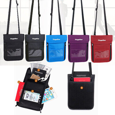 Travel Secure Neck Shoulder Pouch Passport Card RFID-Block Secret Wallets Bag
