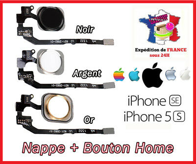 Nappe + Bouton Home Iphone 5S / 5Se   Blanc/Argent/Or/Dore/Noir