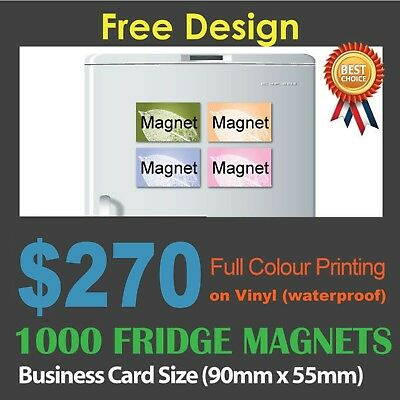 1000 Business Card size PP vinyl fridge magnets (0.6mm) full colour 1-sided