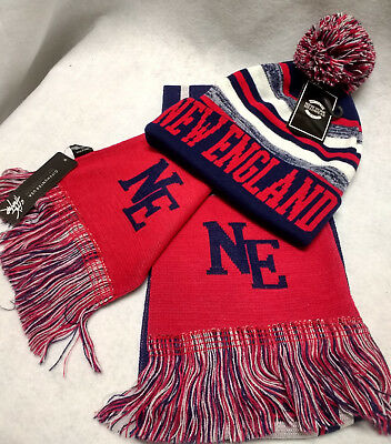 "New England Patriots Team Color ""SUPER""  Scarf and Pom  Beanie knit hat Gift Set"