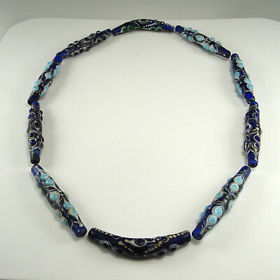 Dragonfly Eye Beads Warring States Ancient Chinese Glass Necklace Blue Zhou Dy