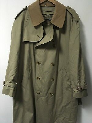 BROOKS BROTHERS Beige Poplin Trench Coat Wool Lined Men's Size 42 R GUC